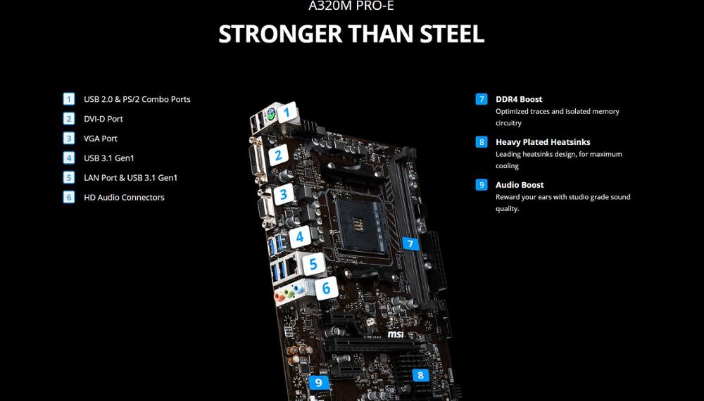 Image 2 - MSI A320M PRO E материнская плата amd am4 socket ryzen DVI dual ddr4 memory slot PCI E Gen3 X16 SATAIII USB3.1 m ATX motherboard-in Motherboards from Computer & Office