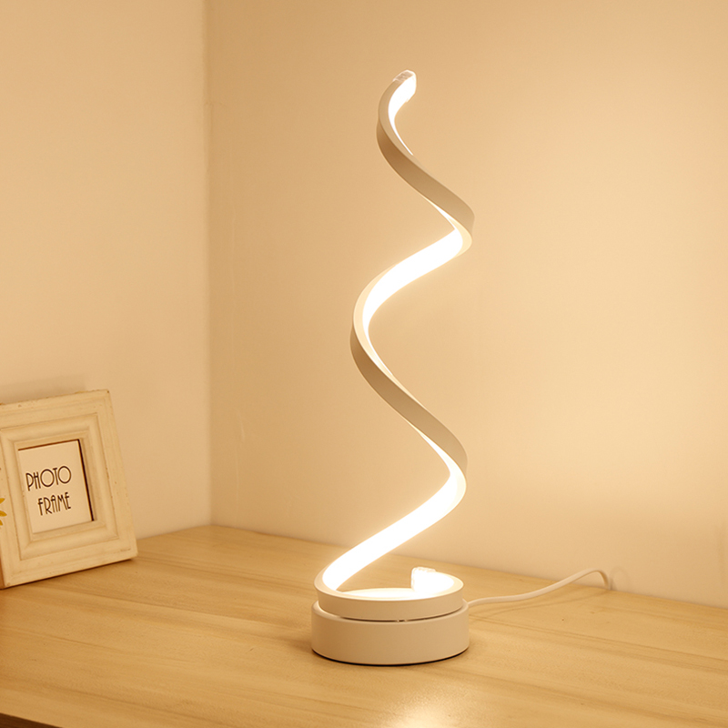 EASY-Eu Plug Led Table Lamp Modern Creative Spiral Design Minimalist Lighting Dimmable Floor Desk Lamp Great For Living Room