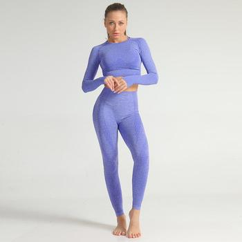 Women Vital Seamless Yoga Set Gym Clothing Fitness Clothes Sport Suit Seamless Running Tracksuit Sportswear Gym Crop Top Yoga