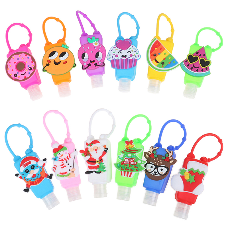 Christmas Cartoon 30ml Waterless Silicone Bath Body Works Hand Sanitizer Pocketable Antibacterial Holder With Empty Bottle