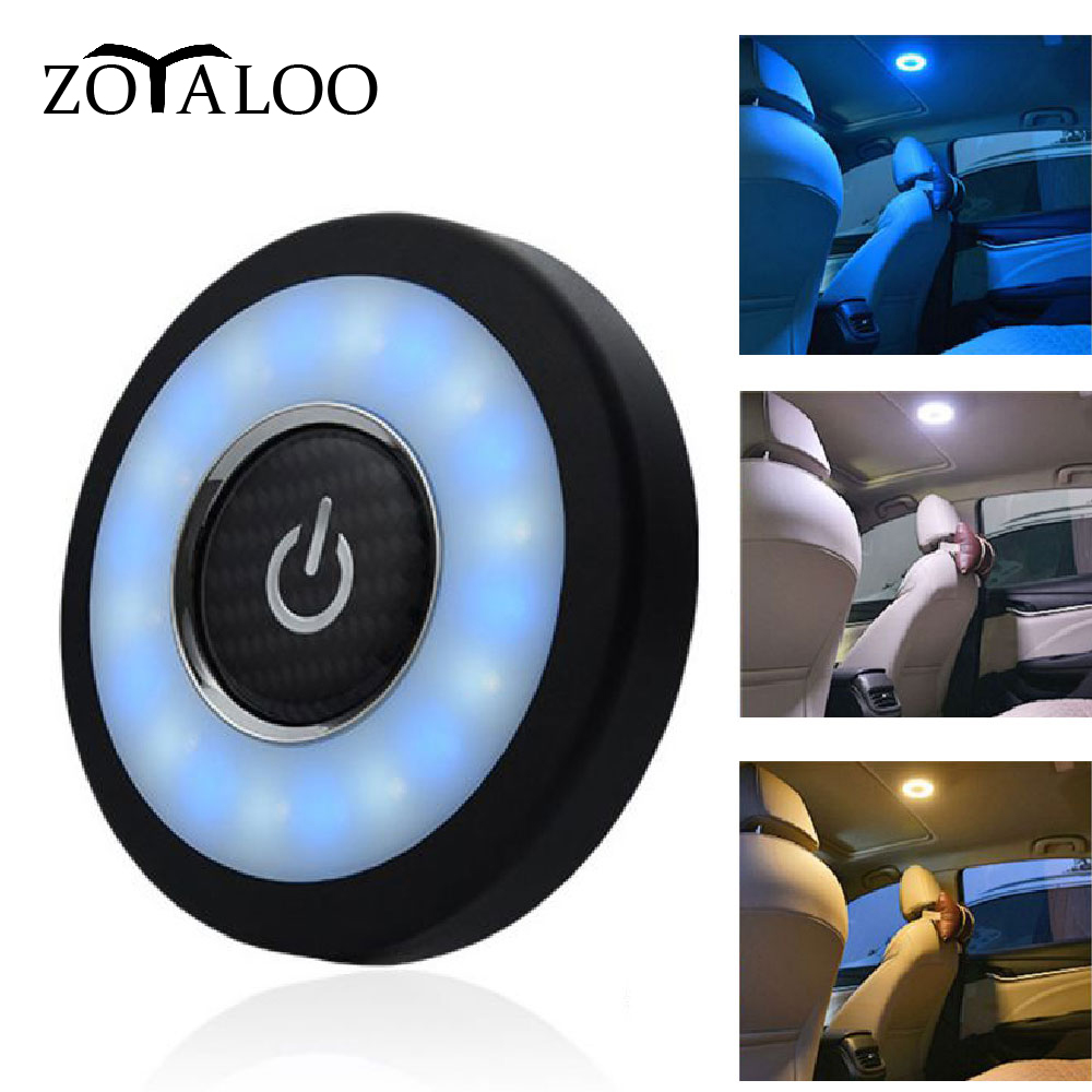 Car Interior Reading Lamp USB Charging LED Portable Round Universal Rechargeable Wireless Touch Type Car Interior Night Light
