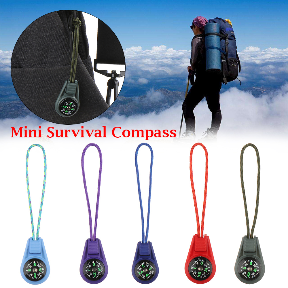 2Pcs Zipper Tail Rope Pocket Compasses Camping Hiking EDC Mini Compass For Paracord Bracelet Gear Survival Keychain Outdoor Tool(China)