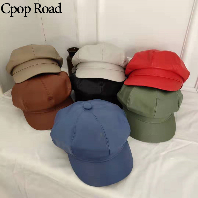 Cpop 7 Colors PU Leather Visors High Quality New Fashion Female Solid Color Hats Personality Simple Women Winter Hats Hot Gift