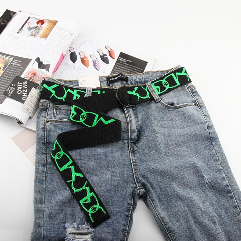 New Trend Women Printed Belt Nylon Canvas Student Belt Fashion Wild Pants Waistbelt Double Loop Buckle Dress Unisex Belt