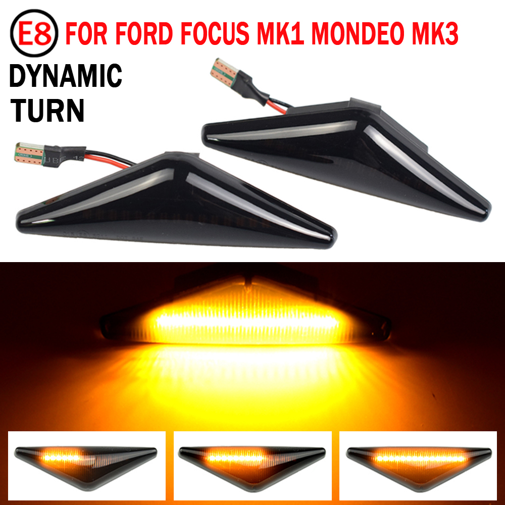 2PCS Repeater Side Marker LED Dynamic Turn Signal Light Blinker Sequential Lamp For Ford Focus Mk1 Mondeo Mk3