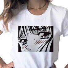 Maglietta bianca estetica da donna in stile coreano Tearful Girl Summer Graphic Harajuku Tee Comics Anime Tshirt abbigliamento donna top