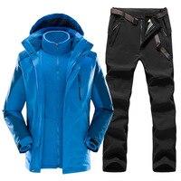 Winter 3 in 1 Men's Hiking jacket & Hiking Pants Fleece liner thick Thermal Tracksuit Outdoor Waterproof mountaineering ski suit