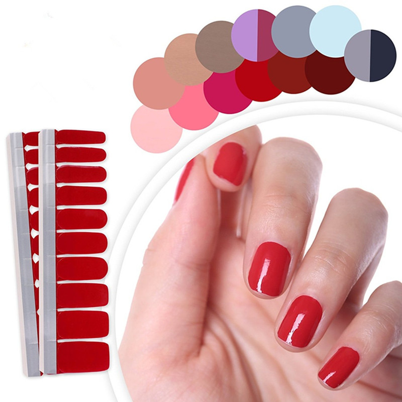22 Colors Pure Colors Full Cover Self Adhesive Stickers Polish Foils Tips Wrap Solid Color Nail Manicure Gifts for Women Girl