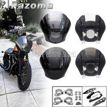 Ćwierć owiewka przednia szyba uniwersalny reflektor maska ochronna dla Harley Sportster Dyna Fat Bob przemieszczanie się po ulicy 39/41mm 45/49mm