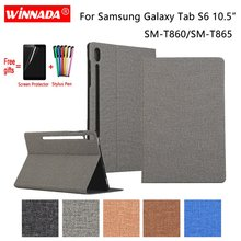 For Samsung Galaxy Tab S6 T860 T865 10.5 inch case linen PU leather Stand tablet TPU Cover for SM-T860 Coque+Film+Pen
