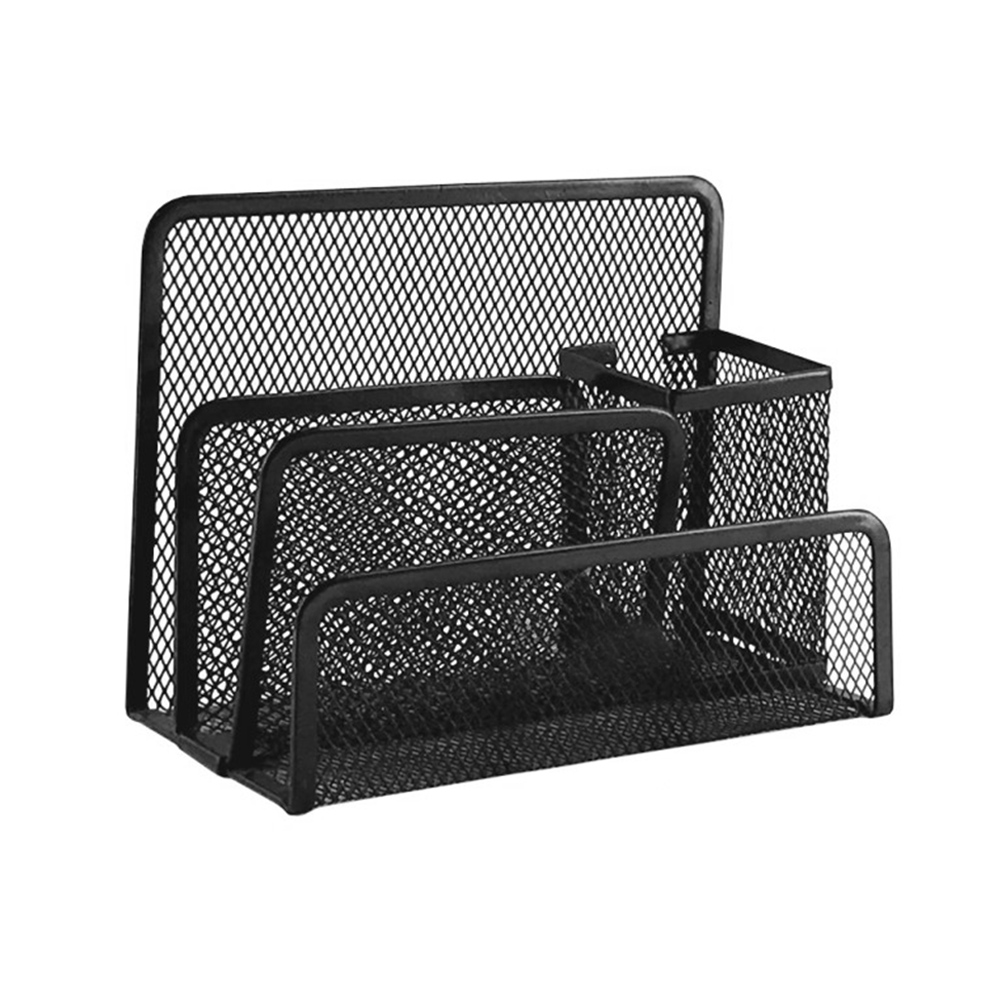 Document Filing Storage Metal Mesh Desk Mail File Organizer Practical Letter Sorter With Pen Pencil Holder For Home Office