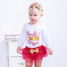 Birthday Outfit Baby Girls Long Sleeve Top Romper+Ruffle Tulle A-line Skirt +Headband Toddler Cake Smash Skirt Clothes Set D40(China)