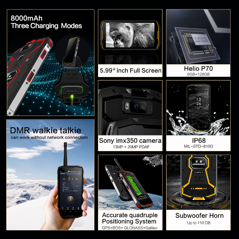 """Conquest S12 Pro IP68 Waterproof 4G Mobile Phone 6G+128GB 5.99""""Screen 8000mAh Android 9.0 helio P70 Octa Core Rugged Smartphone"""