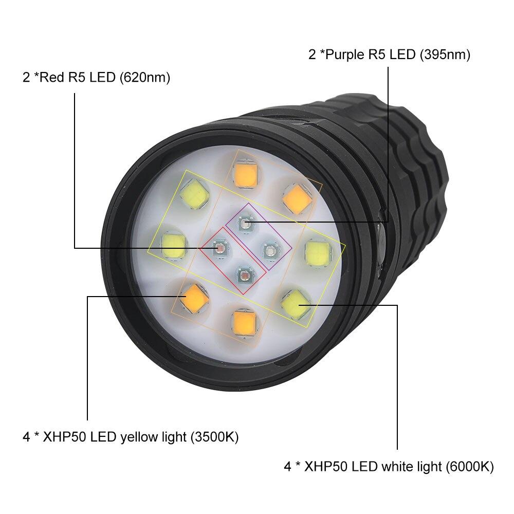 25000lm xhp50 mergulho lanterna 4 cores subaquatica 01