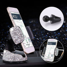 Crystal Car Phone Holder Support Universal Dashboard Mobile Phones Stand Air Vent Clip Mount Holder Bling Girls Car Accessories