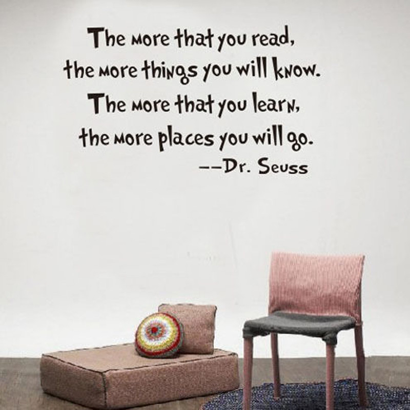 VACCLO Dr Seuss Quote Motivational Wall Decal Office Vinyl Wall Sticker For Book Room Home Decor Read Learn Quotes Wall Decals image