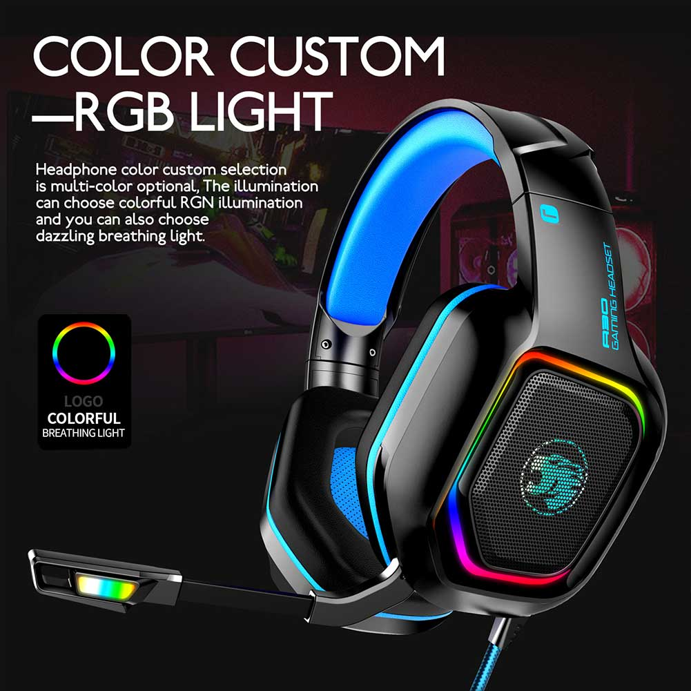 Portable Gamer Over Ear With Mic Bass Surround PC LED Gaming Headset Wired Accessories Home Office For PS4 For Xbox One For IPad