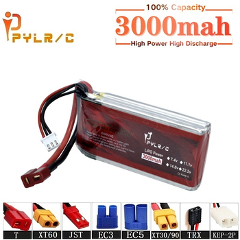 High Rate 7.4v 3000mah 45CLipo Battery For RC Helicopter Parts 2s Lithium battery 7.4v RC Car Boat Airplanes Drone Battery image