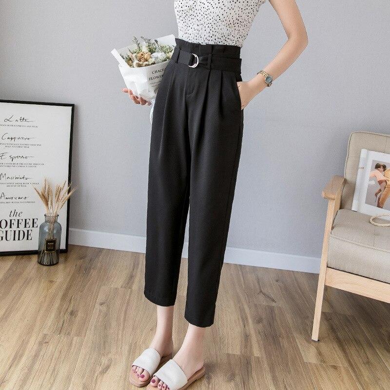 2xl Korean Summer High Waist Trousers Female 2019 Autumn Chiffon Ankle-length Pants For Women Plus Size Black Harem Pants Women