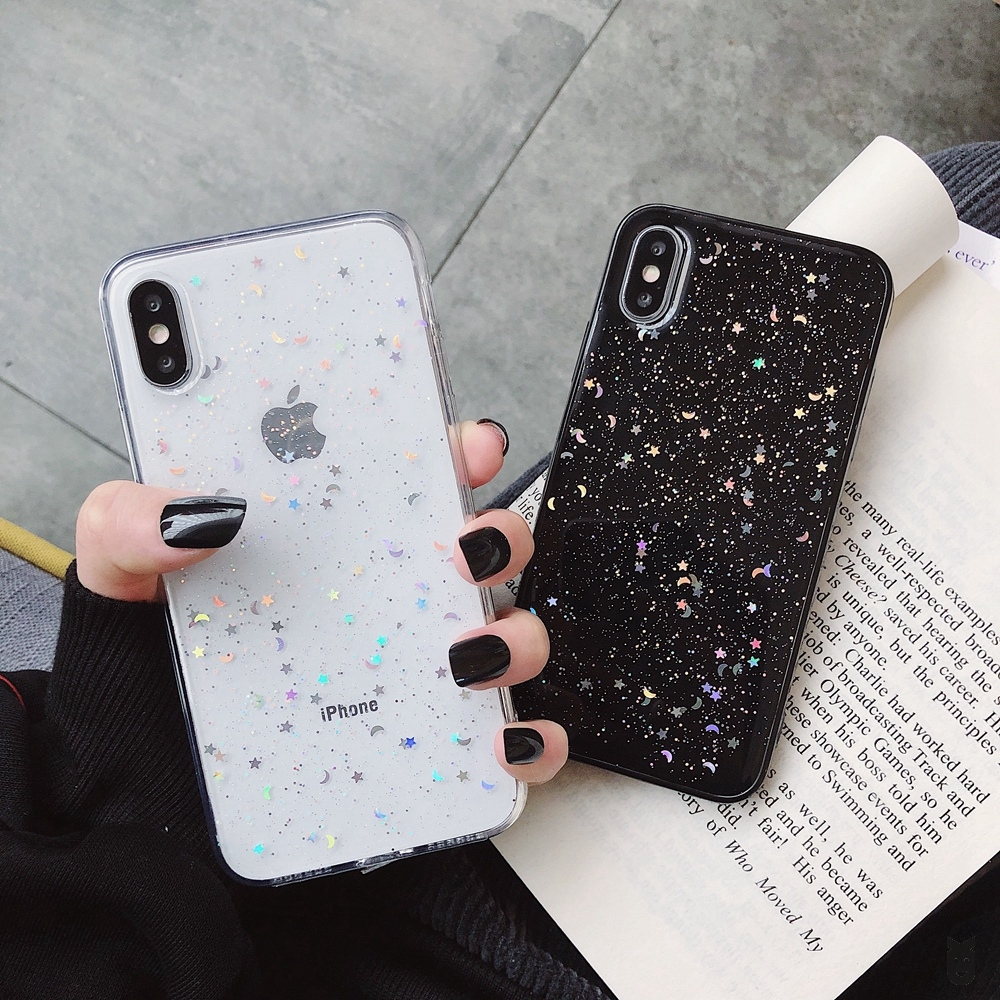 luxury Glitter Phone <font><b>Case</b></font> For <font><b>iPhone</b></font> 11 Pro 7 8 6 6s Plus <font><b>X</b></font> <font><b>XS</b></font> XR <font><b>XS</b></font> Max Bling Moon Stars Sequins Soft TPU Clear Silicone Cover image