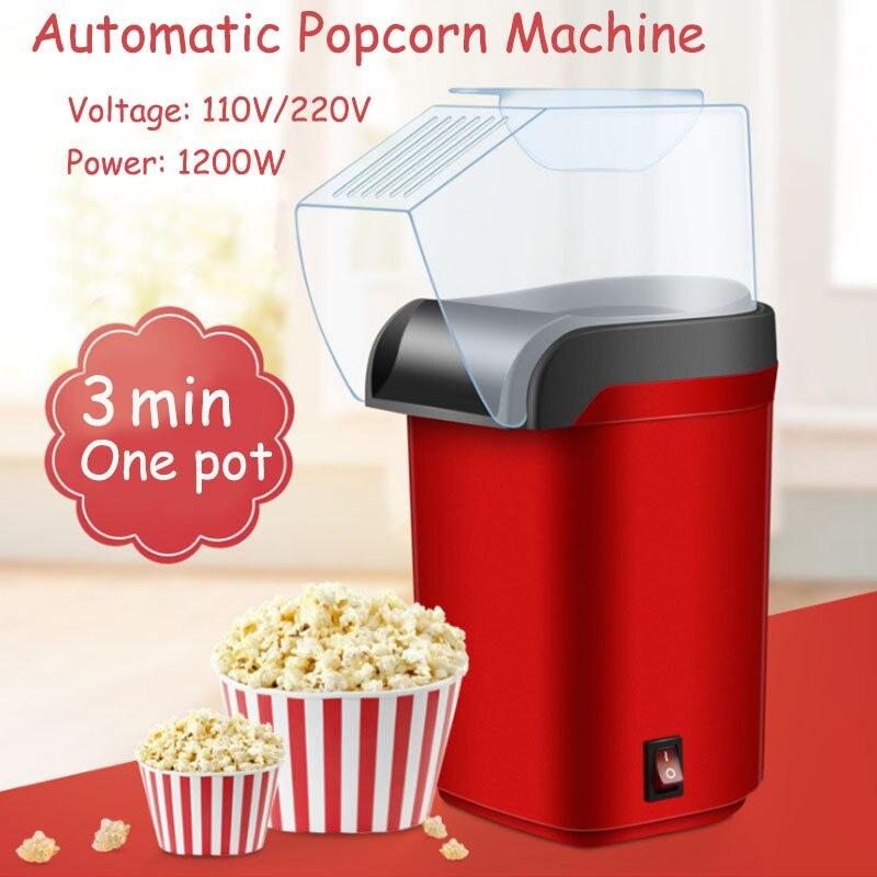 Electric Corn Popcorn Maker Household DIY Automatic Mini Hot Air Popcorn Making Machine 1200W 110V 220V Home Kitchen Kids Gift