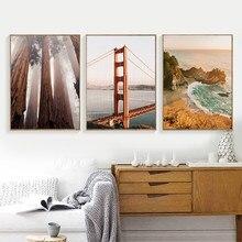 Affiches et imprimés de photographie de paysage de pont de la côte ouest de Golden Gate, images de forêt de séquoia, décor de toile d'art