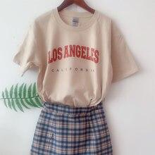 Camiseta de manga corta de LOS ANGLES California para Mujer, camiseta divertida Mujer, Camiseta de algodón para Mujer, Camisetas blancas para Mujer