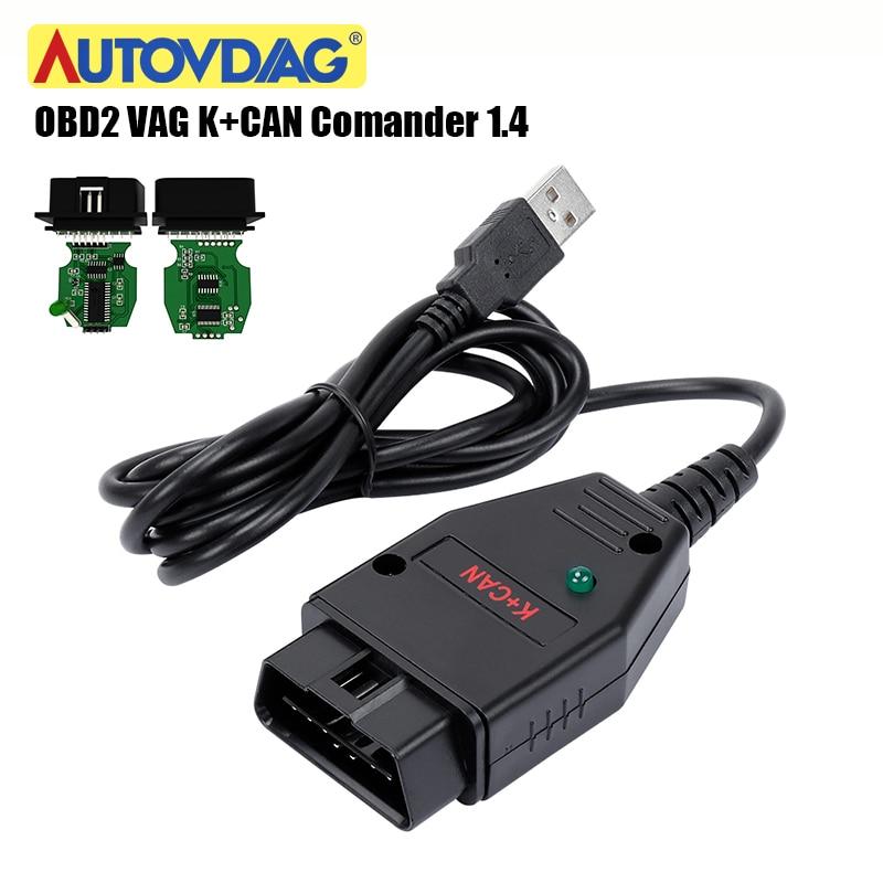 For VAG K+CAN Comander 1.4 For AUDI/for VW/Skoda Green PCB PIC18F258-1/S0 FTDI FT232RL Chip VAG K+CAN 1.4 K-Line Commander Full