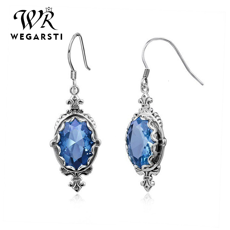 WEGARASTI Silver 925 Jewelry Gemstones Blue Sapphire Drop Dangle Earrings 925 Sterling Silver Earrings Jewelry For Women