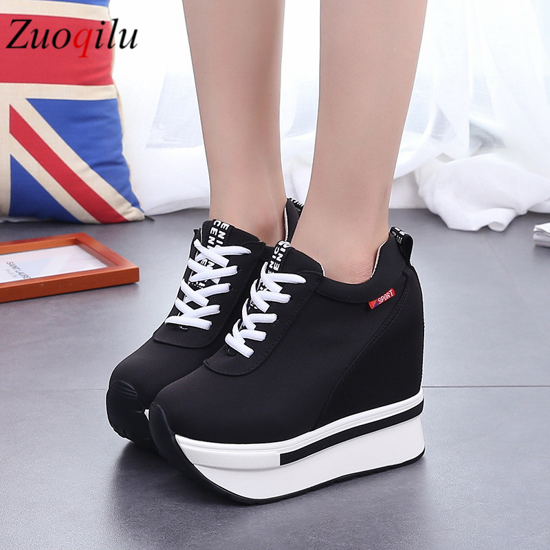 Platform Shoes Women Canvas Wedges Shoes Height Increasing Platform Heels Shoes Sneakers Women Casual Shoes Chaussure Femme