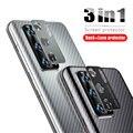 Защитная пленка для задней панели из углеродного волокна, 3 в 1, металлическое кольцо для защиты камеры для Huawei P40 Pro P40 Lite Nova 7i, чехол