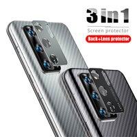 Etiqueta protectora de pantalla trasera de fibra de carbono 3 en 1 anillo de protección de Metal Protector de cámara para Huawei P40 Pro P40 Lite Nova 7i