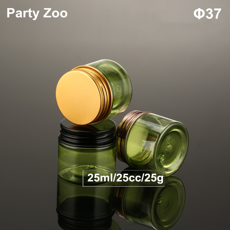 120 X <font><b>25ml</b></font> Empty Green Cream Jar With Bright Gold&Black Screw Aluminum Cap Solid Perfumes <font><b>Container</b></font> 25cc Powders Bottle Tin image
