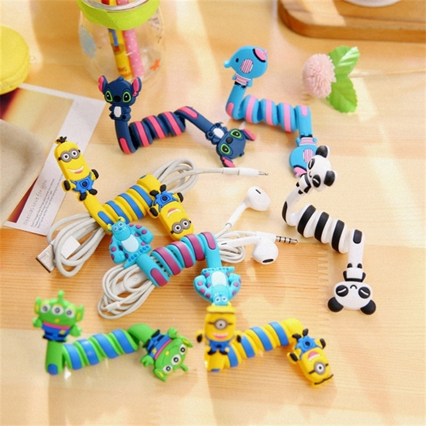cartoon headphone cable winder,cute mobile phone data cable finishing storage protector,charger cable organizer retention clips