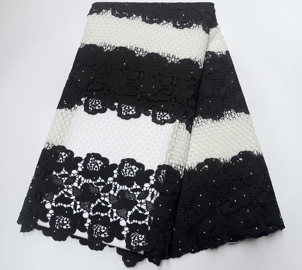 High Quality African Tulle Guipure Cord Lace Fabric Latest Nigerian French Network Cord Lace Fabric With Stones For Dress