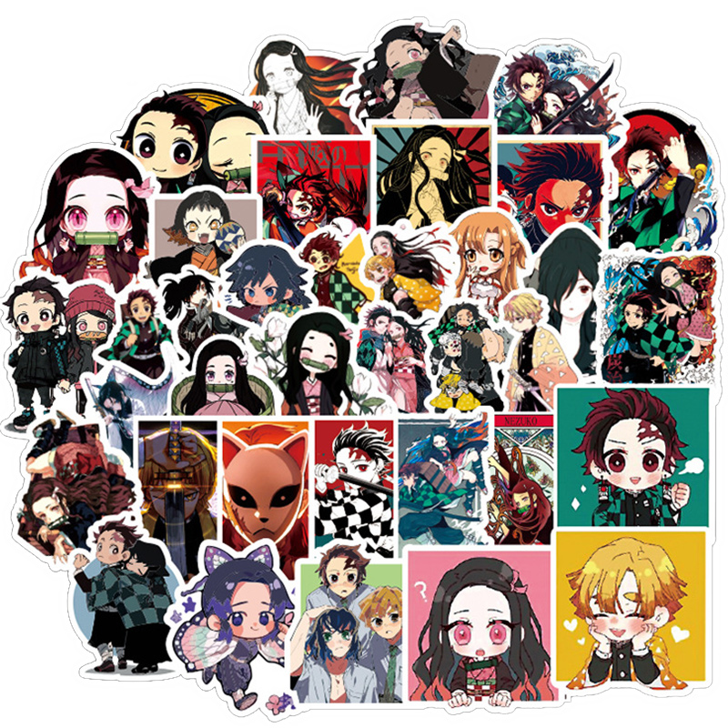 50pieces Demon Slayer Anime Stickers For Wall Decor Fridge Motorcycle Bike Refrigerator Laptop Car Stickers No Repeat