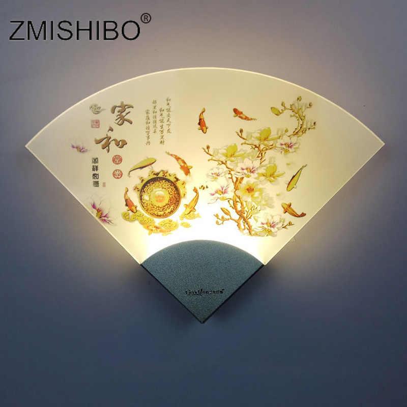 ZMISHIBO قطاع مروحة على شكل وحدة إضاءة LED جداريّة مصباح غرفة المعيشة المنزلي الديكور 5 واط 220 فولت الجدار الشمعدان الحلو على شكل قلب تركيبات الإضاءة.