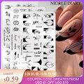 Николь дневник цветок во французском стиле; Модель пластины для стемпинга ногтей в виде листа, геометрической формы с цветочным принтом, на...