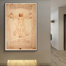 Vitruvian Man Famous Art Canvas Paintings By Leonardo da Vinci Classical Wall Art Posters And Prints Wall Art Pictures Cuadros leonardo da vinci thoughts on art and life