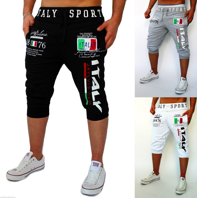 For AliExpress Hot Selling Men Casual Capri Pants Italy Digital Printing Design Athletic Pants