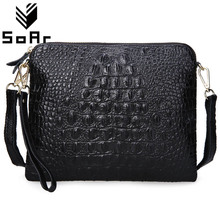 Women Bag Genuine Leather Cowhide  Messenger s Crossbody Shoulder Ladies Clutch Crocodile Pattern Small Handbag