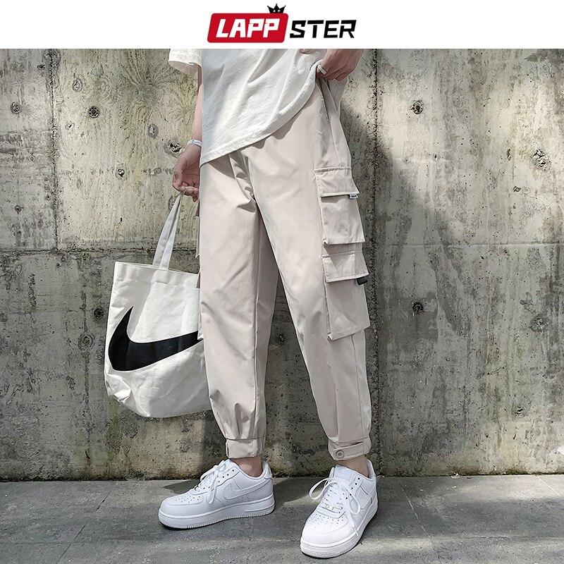 LAPPSTER Men Pockets Joggers Pants 2020 Overalls Mens Fashions Korean Sweatpants Male Black Japanese Streetwear Cargo Pants 3XL