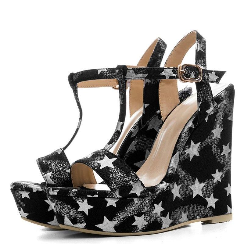 YECHNE Summer Women Wiggen Sandals Women Hooks Shoes Silver Gold Platform Women High Hooks Sandals Zapatos Mujer Blue