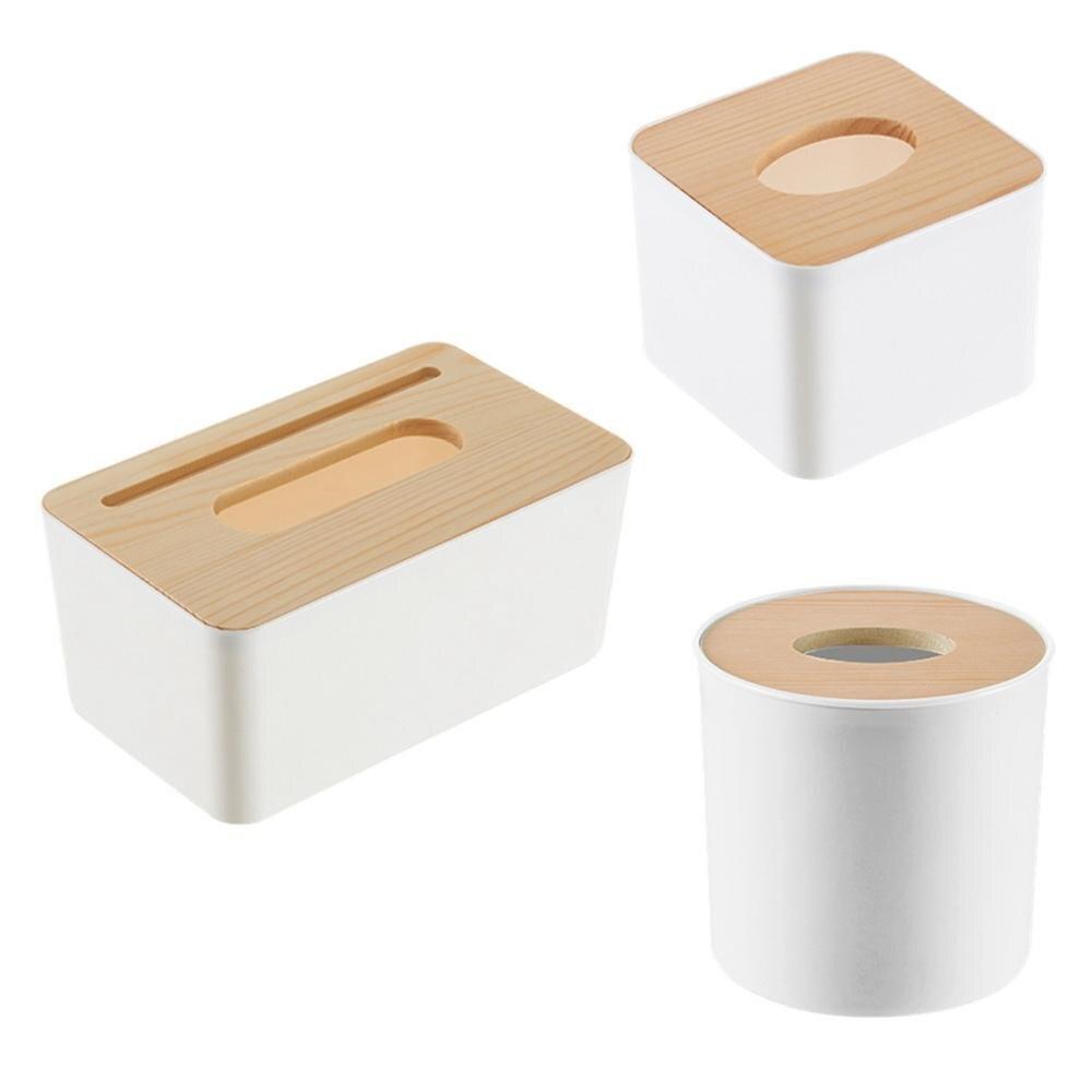 Новинка, деревянная крышка, автомобильная пластиковая коробка для салфеток, держатель, кухонная коробка для хранения, офисная, домашняя, органайзер, Настольная коробка для салфеток с телефонной полкой