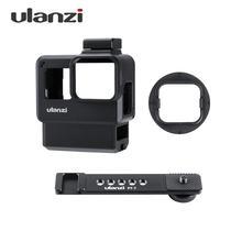 Ulanzi V2 פרו ספורט מצלמה כלוב Vlog מקרה מגן כלוב מיקרופון וידאו אור 52mm מסנן מיקרופון מתאם עבור GoPro גיבור 7 6 5
