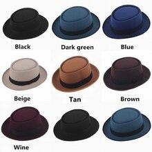 Unisex Men Women Classic Felt Pork Pie Porkpie Hat Cap Upturn Short Brim Bowler Black Ribbon Band Size 7 1/8
