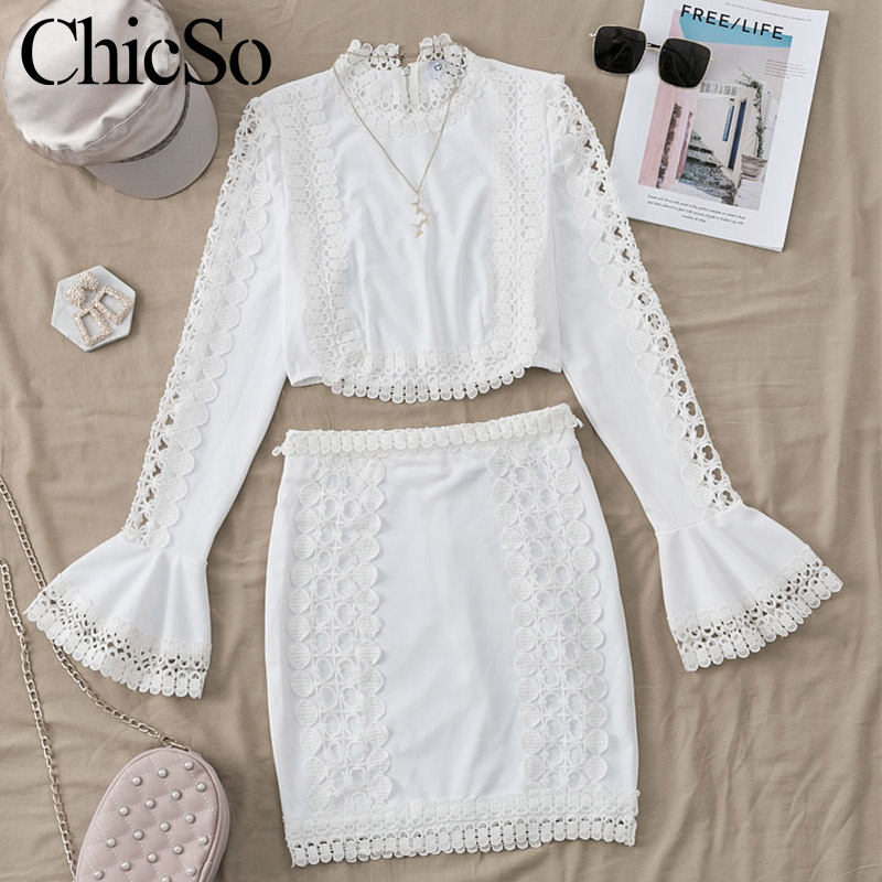 Image 4 - MissyChilli Lace white bodycon dress Women elegant two piece flare sleeve s dress summer short sexy party beach dress festaDresses   -