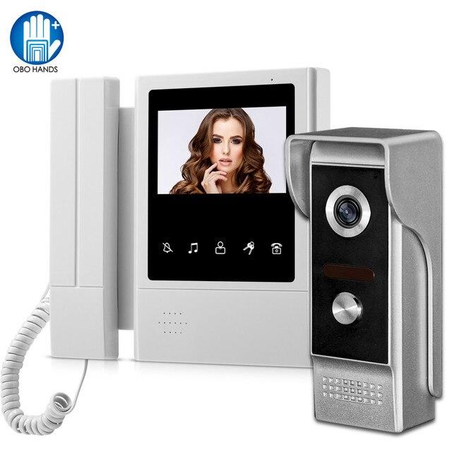4.3 inch Home Intercom Video Door Phone Video Intercom Doorbell Doorphone Waterproof 700TVL Camera Two-way Audio IR Night Vision