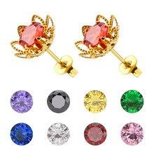 1 Pair 6mm Colorful Flower Stud Earrings For Women CZ AAA Zircon Ear Piercing Studs Stainless Steel Jewelry Women Girl Gift стоимость