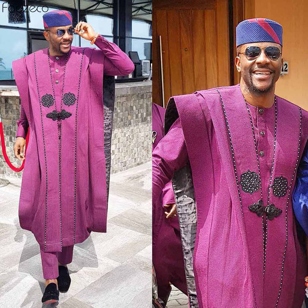 Fadzeco Agbada 2019 Men's African 3PCS Plus Size Dashiki Purple Embroidery Boubous Tops Shirt Pant Mens Clothes Formal Attire